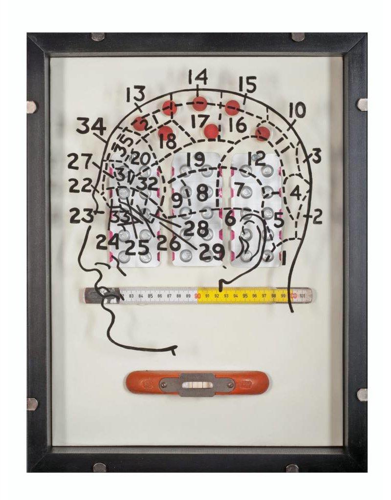 "Holly Ballard Martz Holly Ballard Martz LEVEL HEADED 18 x 14"" encaustic, vintage ruler, level, game pieces, blister pill packs"
