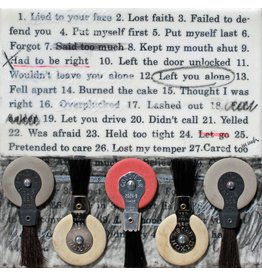 "Holly Ballard Martz Holly Ballard Martz MISTAKES WERE MADE (LEFT YOU ALONE) 8 x 8""  encaustic and typewriter erasers on panel"