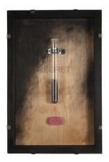 "Holly Ballard Martz Holly Ballard Martz REGRET 18 x 12"" glass vial, eraser debris, eraser"