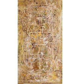 "Curt Labitzke Curt Labitzke PALIMPSEST - STACKED TUSCAN VASE II (OCHRE) 60 X 30"" paint on canvas unframed 2017"