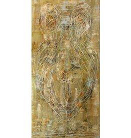 "Curt Labitzke Curt Labitzke PALIMPSEST - LARGE GREEK AMPHORA II (GREEN/BLUE/RUST) 96 x 48"" paint on canvas unframed 2017"