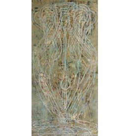 "Curt Labitzke Curt Labitzke PALIMPSEST - LARGE GREEK AMPHORA I (SEA) 96 x 48"" paint on canvas unframed 2017"