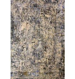 """Curt Labitzke Curt Labitzke PALIMPSEST - LARGE BLUE AMPHORA 78 x 52"""" paint on canvas unframed 2017"""