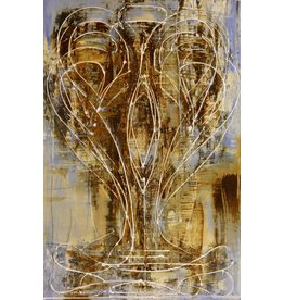 "Curt Labitzke Curt Labitzke PALIMPSEST - ITALIAN VASE II (SKY/RAW SIENNA) 36 x 24"" paint on canvas framed 37.75 x 25.75"" 2017"