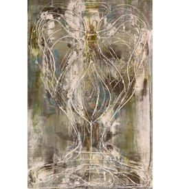 """Curt Labitzke Curt Labitzke PALIMPSEST - ITALIAN VASE IV (GRAY/GREEN/BLUE) 36 x 24"""" paint on canvas framed 37.75 x 25.75"""" 2017"""