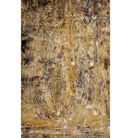 """Curt Labitzke Curt Labitzke PALIMPSEST - LARGE GOLDEN AMPHORA 82 x 53"""" paint on canvas unframed 2017"""