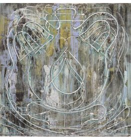 "Curt Labitzke Curt Labitzke PALIMPSEST - ROMAN VASE IV 24 x 24"" paint on canvas framed 25.5 x 25.5"" 2017"