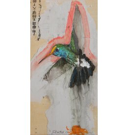 "Michael Dickter Michael Dickter HUMMINGBIRD FOR YOU 12x6"" oil, paper and graphite o panel"