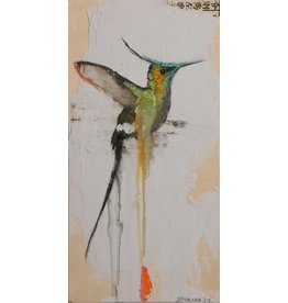 "Michael Dickter Michael Dickter HUMMINGBIRD 12 x 6"" oil, paper and graphite on panel"