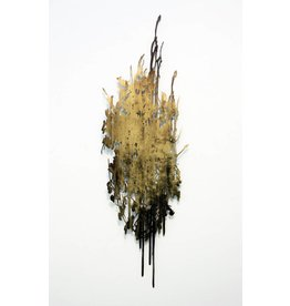 "Katy Stone Katy Stone WALDEINSAMKEIT 36 x 12"" acrylic and gold pigment on poly paper"