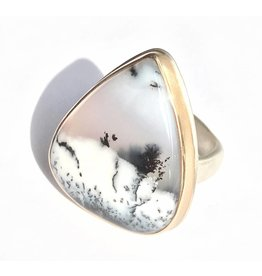 Jamie Joseph JJ Large Vertical Smooth DENDRITIC OPAL teardrop on Sterling & 14k Groovy Band size 7