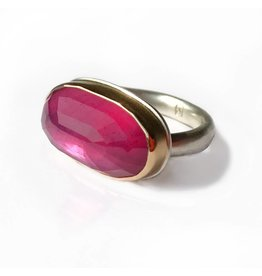 Jamie Joseph JJ Oval Inverted African Ruby on Sterling Silver and 14k Gold Organic Band