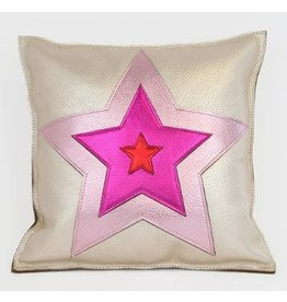 Molly M MM Star 1 Pillow Platinum Pink Magenta Leather