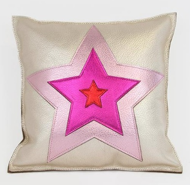 Molly M Baby You're A Star Pillow in Platinum Pink & Magenta Leather