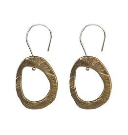 AC Hand Cast Skipping Stones Bronze Hoop on Sterling Ear Wire Earrings