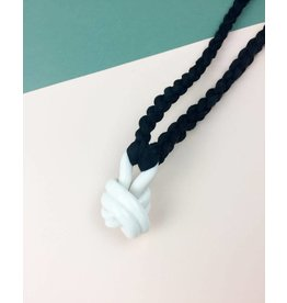 "Barrow PDX BPDX Glazed Porcelain Knot Necklace on 32"" Cotton Cord"