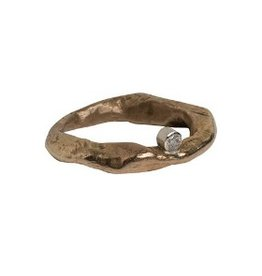 Hand Cast Bronze Mystic Ring with Satellite 2.5mm Diamond Size 7