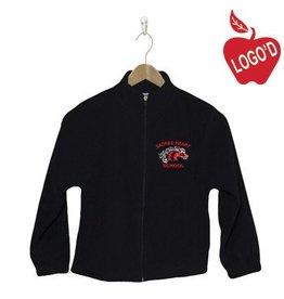 Elder Navy Blue Full Zip Fleece Jacket with Mustang Logo #1001