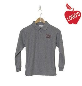Elder Grey Long Sleeve Pique Polo