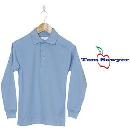 Elder Light Blue Long Sleeve Interlock Polo #5671