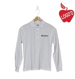 K12 Gear White Long Sleeve Pique Polo