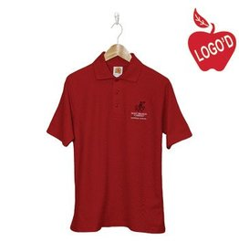 School Apparel A+ Red Short Sleeve Pique Polo with Crusader Logo #8760