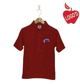 School Apparel A+ Red Short Sleeve Pique Polo with retired Mustang logo #8760