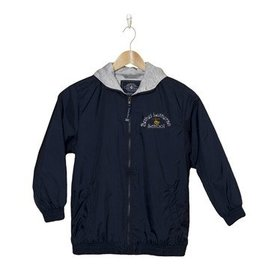 Charles River Navy Nylon Hood Jacket Bethel Cross Logo