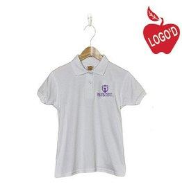School Apparel A+ White Shortsleeve Interlock Polo #9605
