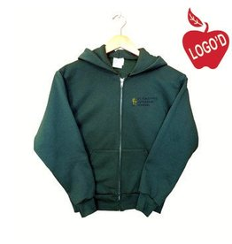 Russell Green Zip Hood Sweatshirt