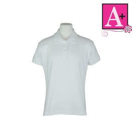 School Apparel A+ White Short Sleeve Interlock Polo #9605
