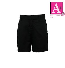 School Apparel A+ Black Plain Front Walk Shorts #7587
