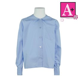 School Apparel A+ Light Blue Long Sleeve Peter Pan Blouse #9166