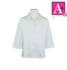 School Apparel A+ White 3/4 Sleeve Princess Blouse #9257