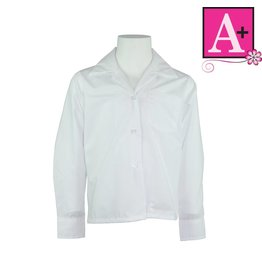 School Apparel A+ White Long Sleeve Pointed Collar Blouse #9266