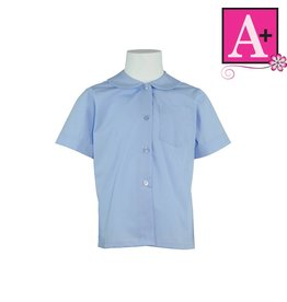 School Apparel A+ Light Blue Short Sleeve Peter Pan Blouse #9380