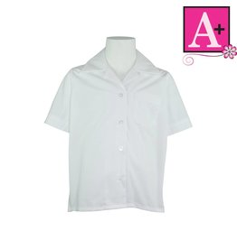 School Apparel A+ White Short Sleeve Pointed Collar Blouse #9480