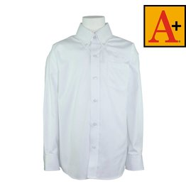 School Apparel A+ White Long Sleeve Pinpoint Oxford Shirt #8196