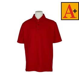 School Apparel A+ Red Short Sleeve Pique Polo #8760