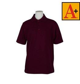 School Apparel A+ Wine Short Sleeve Pique Polo #8760
