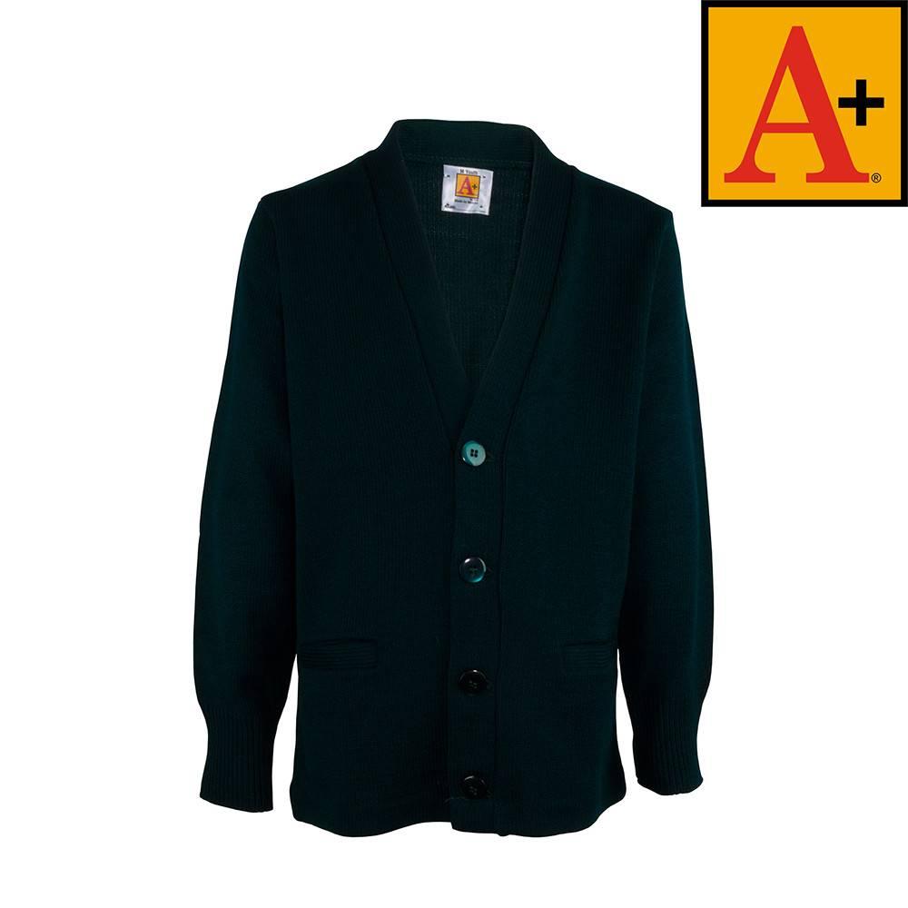 School Apparel A  Green Cardigan Sweater #6300 - Merry Mart Uniforms