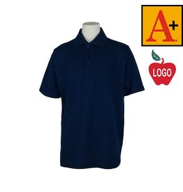 School Apparel A+ Navy Blue Short Sleeve Pique Polo #8760
