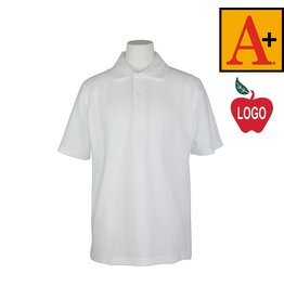School Apparel A+ White Short Sleeve Pique Polo #8760
