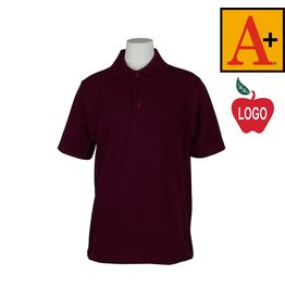 School Apparel A+ Wine Short Sleeve Pique Polo #8760