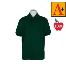 School Apparel A+ Green Short Sleeve Pique Polo #8761