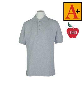 School Apparel A+ Ash Grey Short Sleeve Pique Polo #8761