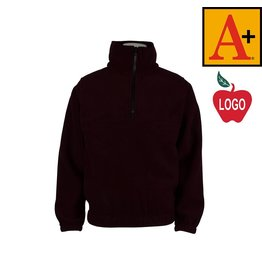 School Apparel A+ Wine Half Zip Fleece Jacket #6235