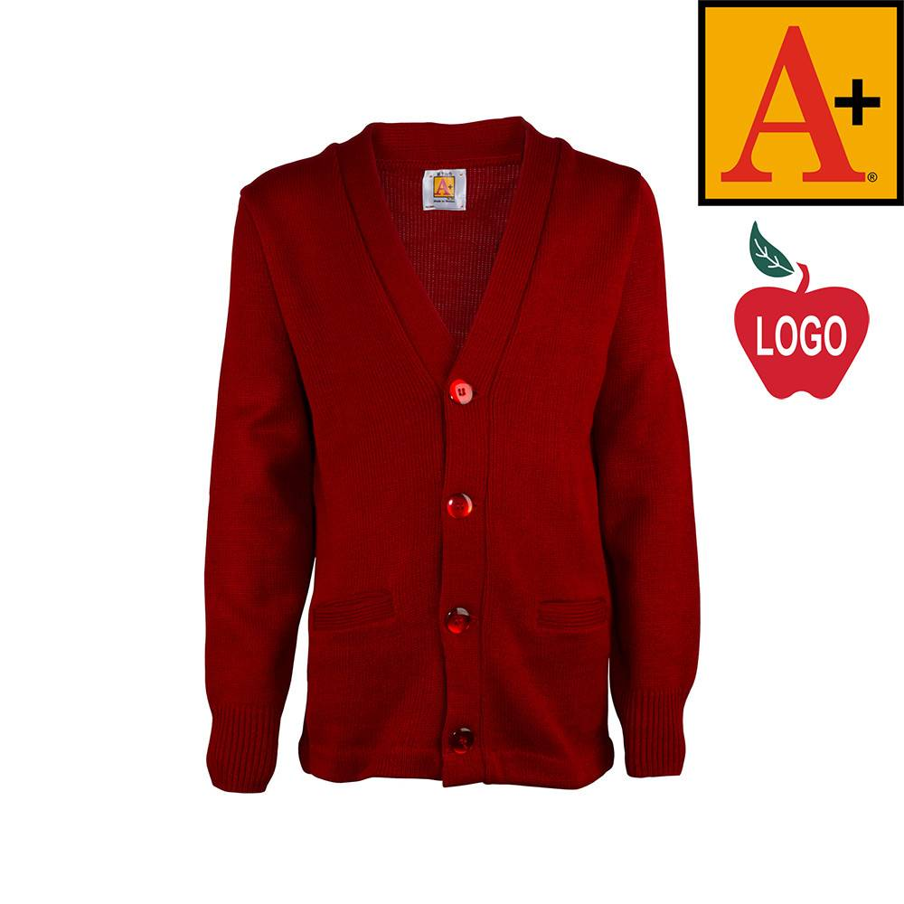 School Apparel A+ Lipstick Red Cardigan Sweater #6300 - Merry Mart ...