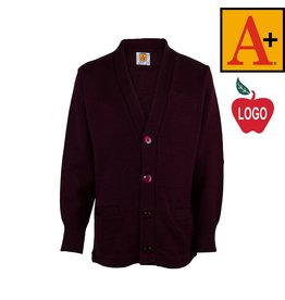 School Apparel A+ Wine Cardigan Sweater with Old Logo #6300