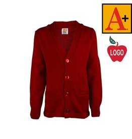School Apparel A+ Lipstick Red Cardigan Sweater #6300